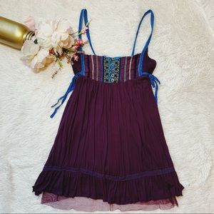 FREE PEOPLE | Purple/Blue Boho Embroidered Tunic M